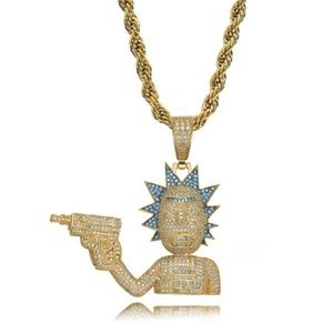 Rick and Morty Pendant Full Zircon Gold Necklace